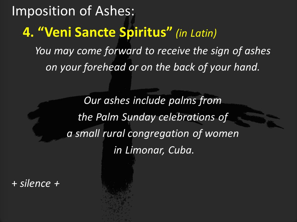 Imposition of Ashes: 4.