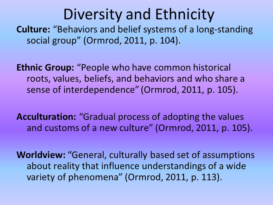 Diversity and Ethnicity Culture: Behaviors and belief systems of a long-standing social group (Ormrod, 2011, p.