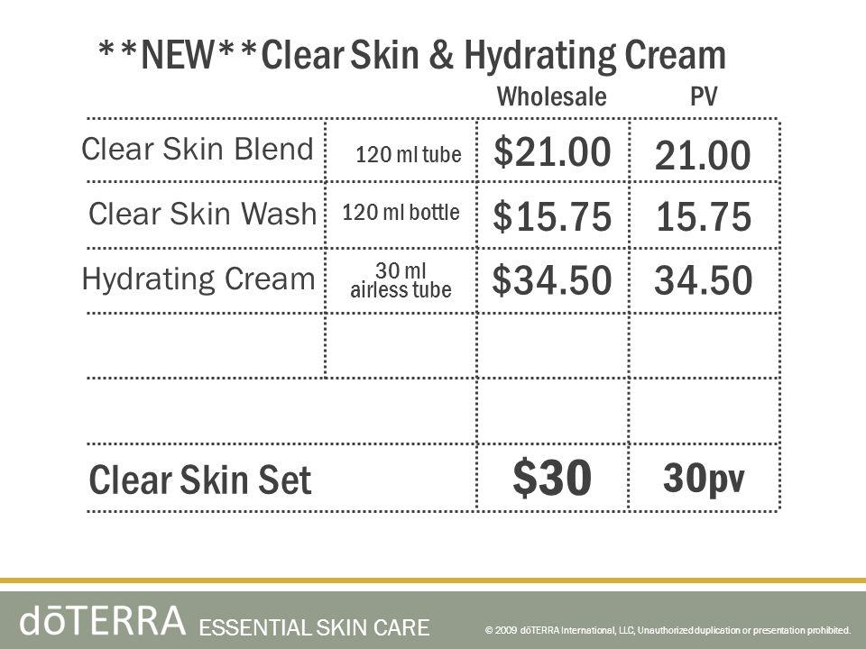 © 2009 dōTERRA International, LLC, Unauthorized duplication or presentation prohibited. ESSENTIAL SKIN CARE Clear Skin Blend Clear Skin Wash Hydrating