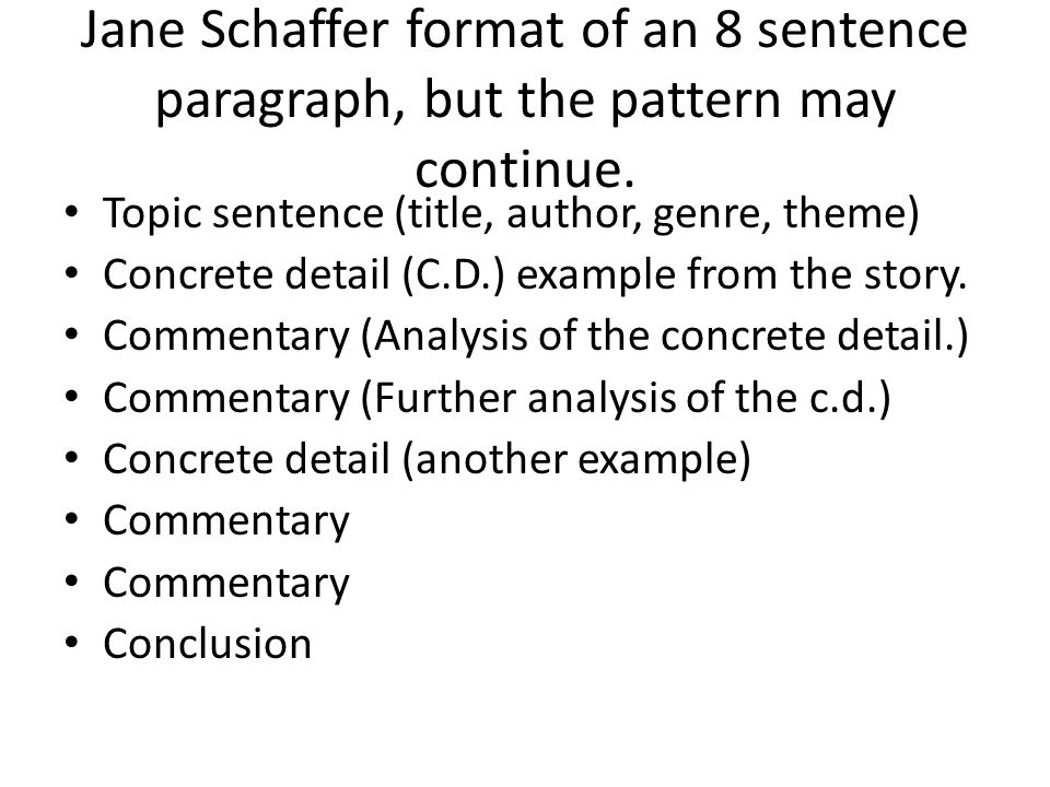 Writing a paragraph about the theme. Jane Schaffer Method. - ppt ...