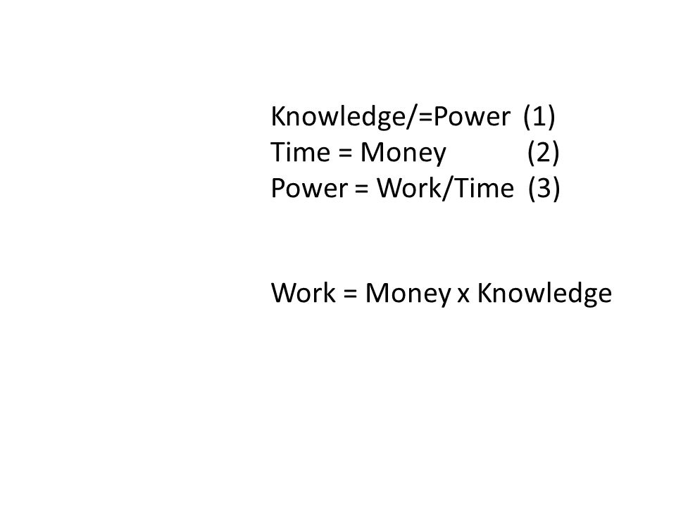 which means Work approaches zero as Knowledge approaches zero Knowledge/=Power (1) Time = Money (2) Power = Work/Time (3) A series of substitutions and rearrangements generates the equation: Work = Money x Knowledge which means Work approaches zero as Knowledge approaches