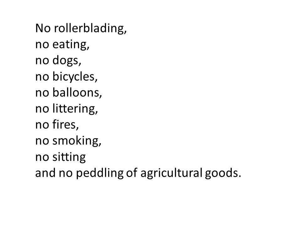 Pretty much, no activities other than the docile riding of the Bangkok underground No rollerblading, no eating, no dogs, no bicycles, no balloons, no littering, no fires, no smoking, no sitting and no peddling of agricultural goods.