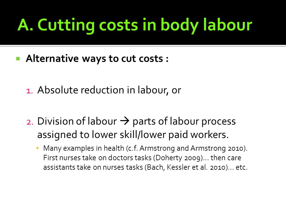 A.Cutting costs in body labour Alternative ways to cut costs : 1.