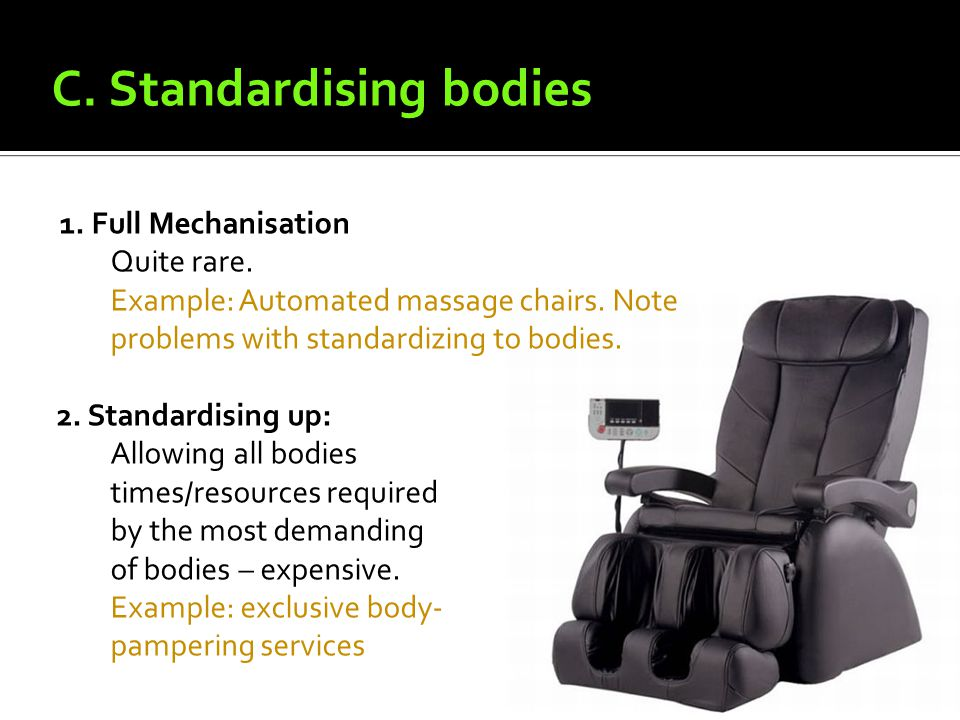 1. Full Mechanisation Quite rare. Example: Automated massage chairs.