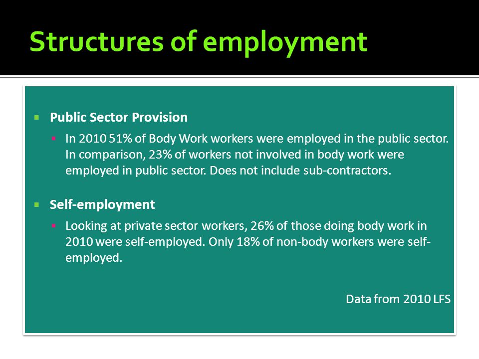 Structures of employment Public Sector Provision In 2010 51% of Body Work workers were employed in the public sector.