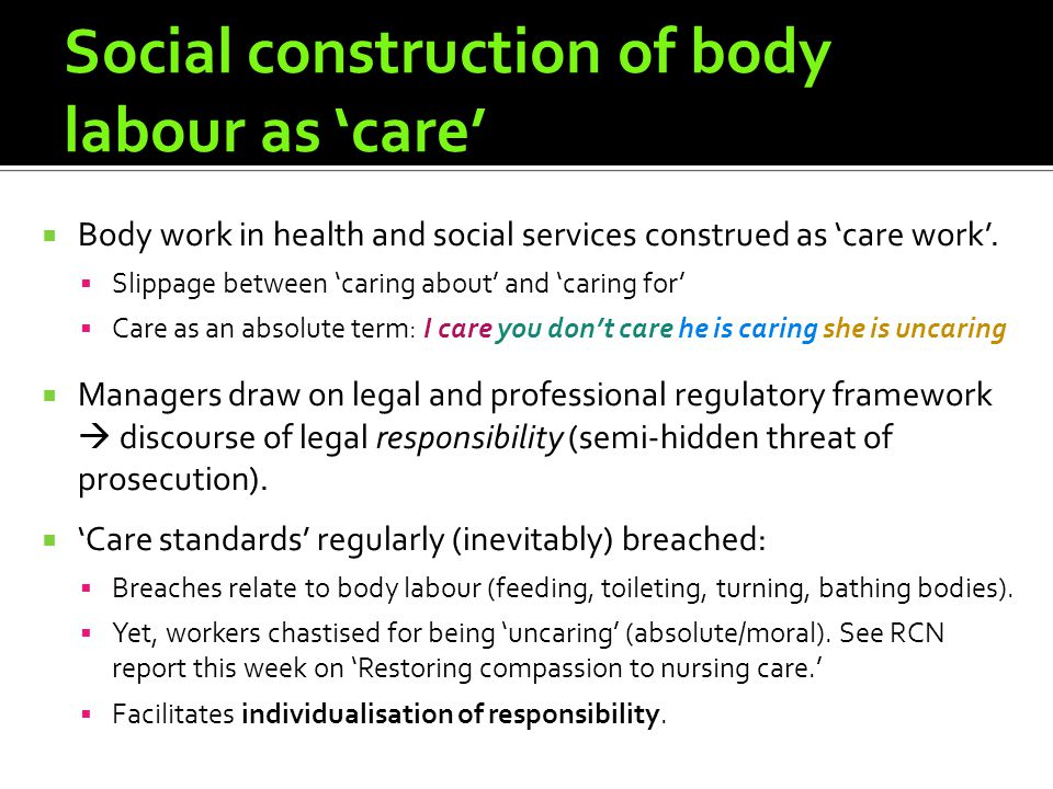 Social construction of body labour as care Body work in health and social services construed as care work.