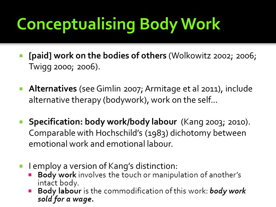 Conceptualising Body Work [paid] work on the bodies of others (Wolkowitz 2002; 2006; Twigg 2000; 2006).
