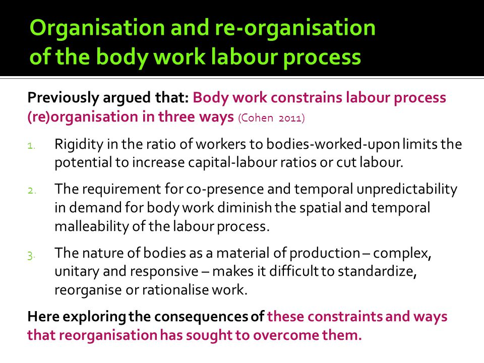 Organisation and re-organisation of the body work labour process Previously argued that: Body work constrains labour process (re)organisation in three ways (Cohen 2011) 1.