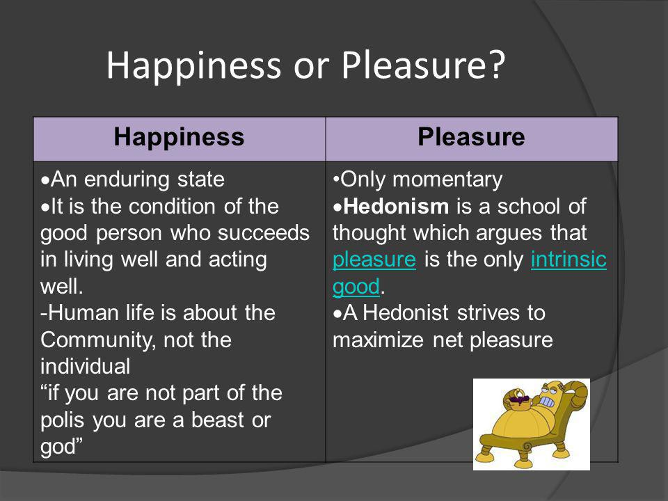 Happiness or Pleasure.