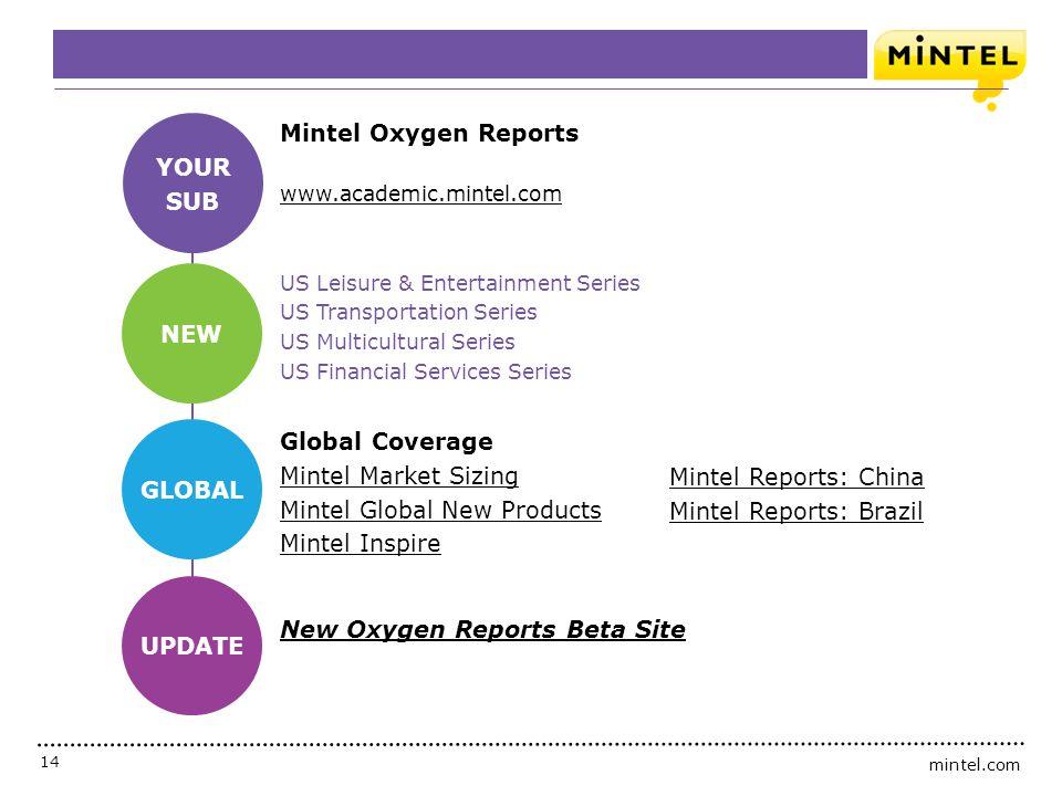 mintel.com 14 To Recap Mintel Oxygen Reports www.academic.mintel.com US Leisure & Entertainment Series US Transportation Series US Multicultural Serie
