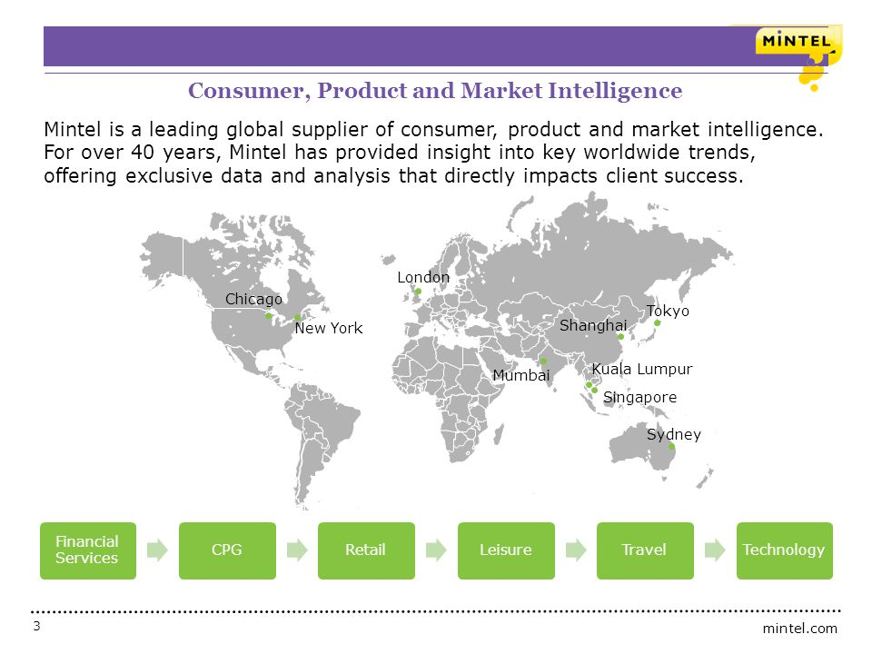 mintel.com 3 Who is Mintel? Consumer, Product and Market Intelligence Mintel is a leading global supplier of consumer, product and market intelligence