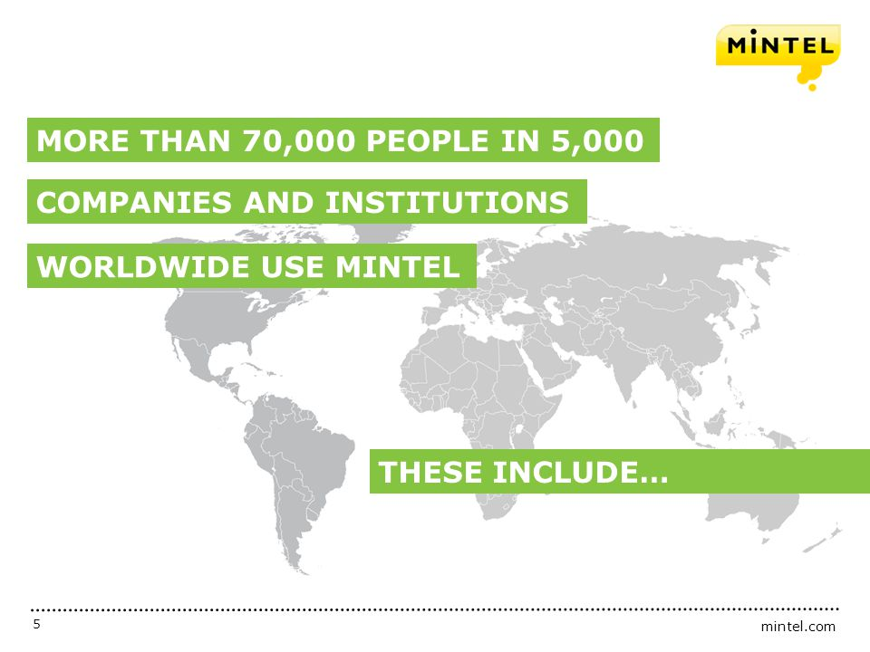 mintel.com 5 THESE INCLUDE… MORE THAN 70,000 PEOPLE IN 5,000 WORLDWIDE USE MINTEL COMPANIES AND INSTITUTIONS