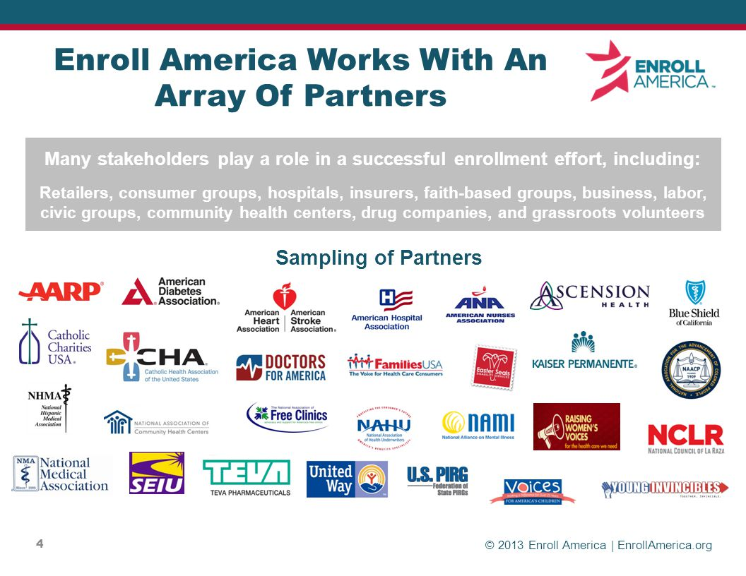 © 2013 Enroll America | EnrollAmerica.org 4 Enroll America Works With An Array Of Partners Sampling of Partners Many stakeholders play a role in a successful enrollment effort, including: Retailers, consumer groups, hospitals, insurers, faith-based groups, business, labor, civic groups, community health centers, drug companies, and grassroots volunteers