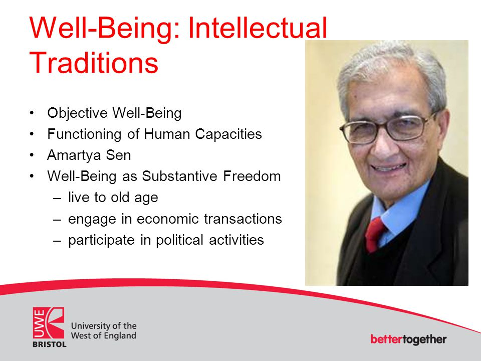 Well-Being: Intellectual Traditions Objective Well-Being Functioning of Human Capacities Amartya Sen Well-Being as Substantive Freedom –live to old age –engage in economic transactions –participate in political activities