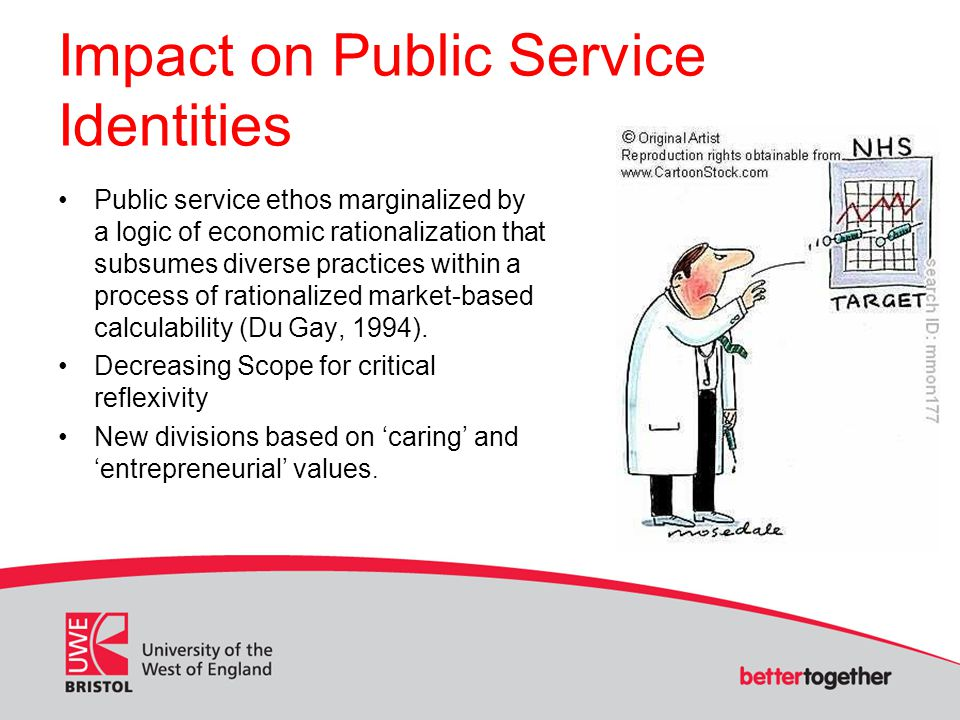 Impact on Public Service Identities Public service ethos marginalized by a logic of economic rationalization that subsumes diverse practices within a process of rationalized market-based calculability (Du Gay, 1994).
