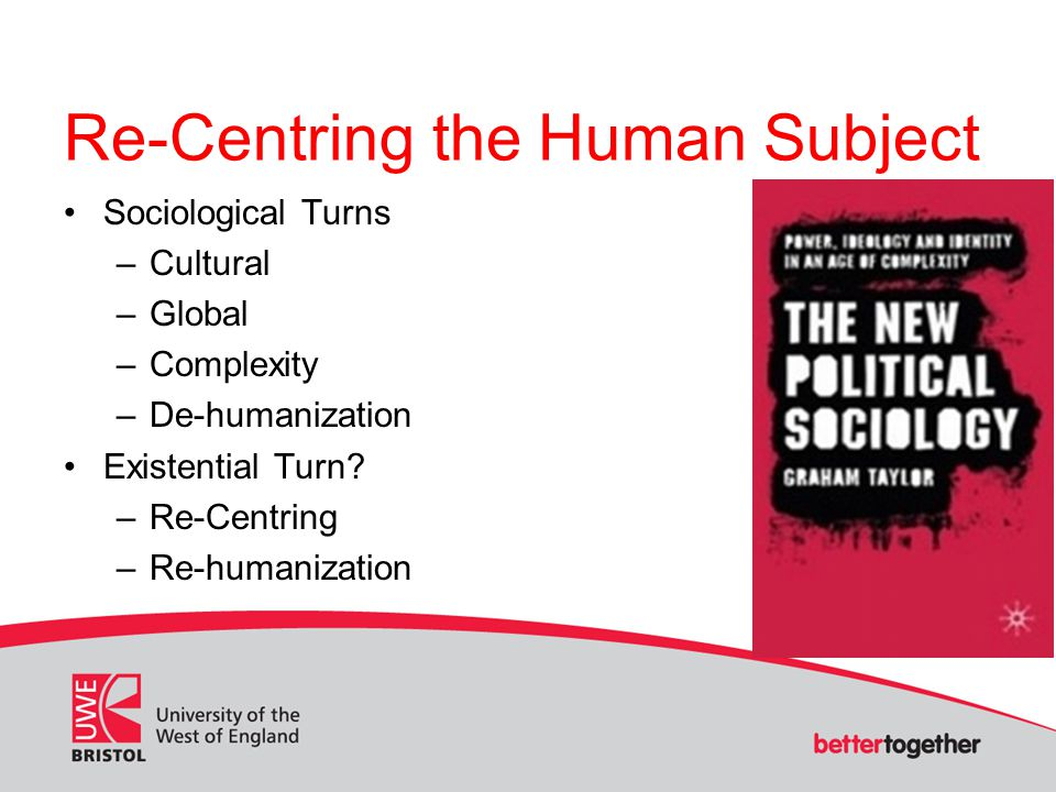 Re-Centring the Human Subject Sociological Turns –Cultural –Global –Complexity –De-humanization Existential Turn.