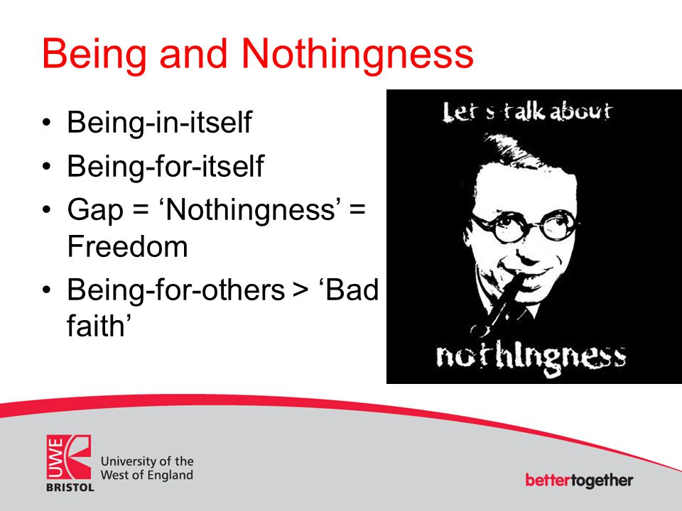 Being and Nothingness Being-in-itself Being-for-itself Gap = Nothingness = Freedom Being-for-others > Bad faith