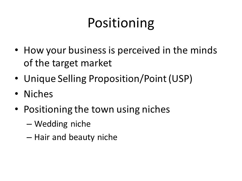 Positioning How your business is perceived in the minds of the target market Unique Selling Proposition/Point (USP) Niches Positioning the town using niches – Wedding niche – Hair and beauty niche