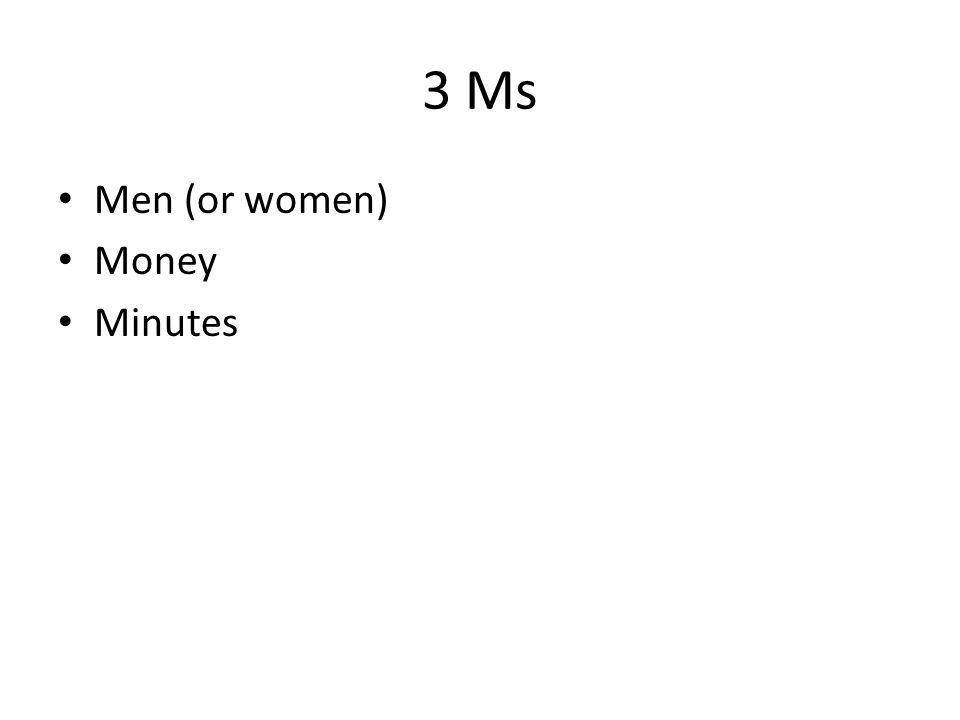 3 Ms Men (or women) Money Minutes