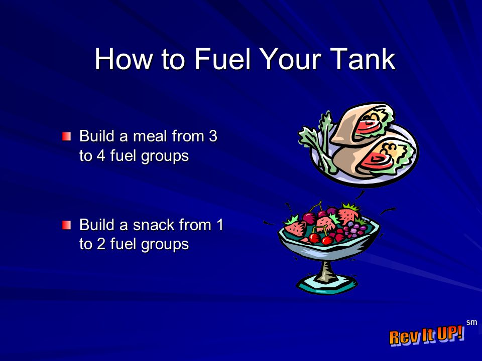 sm How to Fuel Your Tank Build a meal from 3 to 4 fuel groups Build a snack from 1 to 2 fuel groups