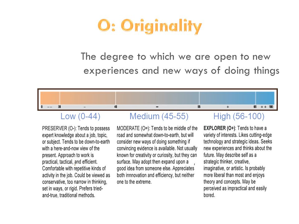 The degree to which we are open to new experiences and new ways of doing things Low (0-44) Medium (45-55) High (56-100)