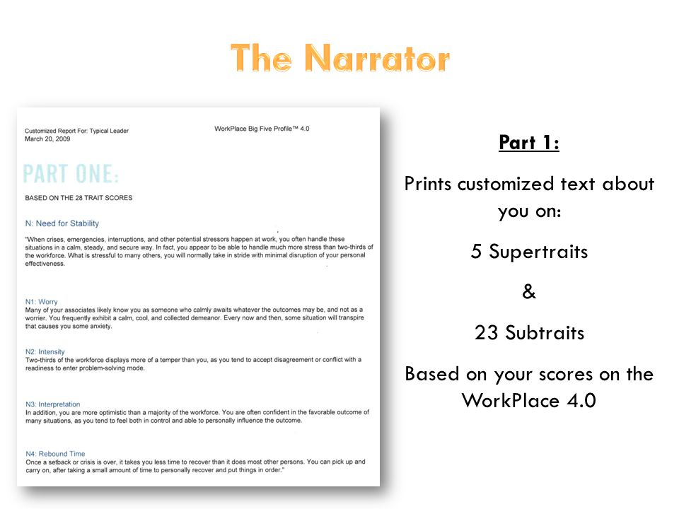 30 Part 1: Prints customized text about you on: 5 Supertraits & 23 Subtraits Based on your scores on the WorkPlace 4.0
