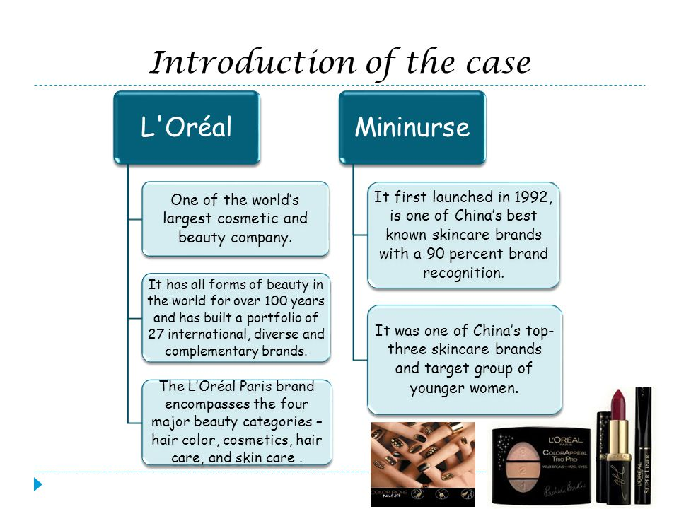 Introduction of the case L'Oréal One of the worlds largest cosmetic and beauty company. It has all forms of beauty in the world for over 100 years and