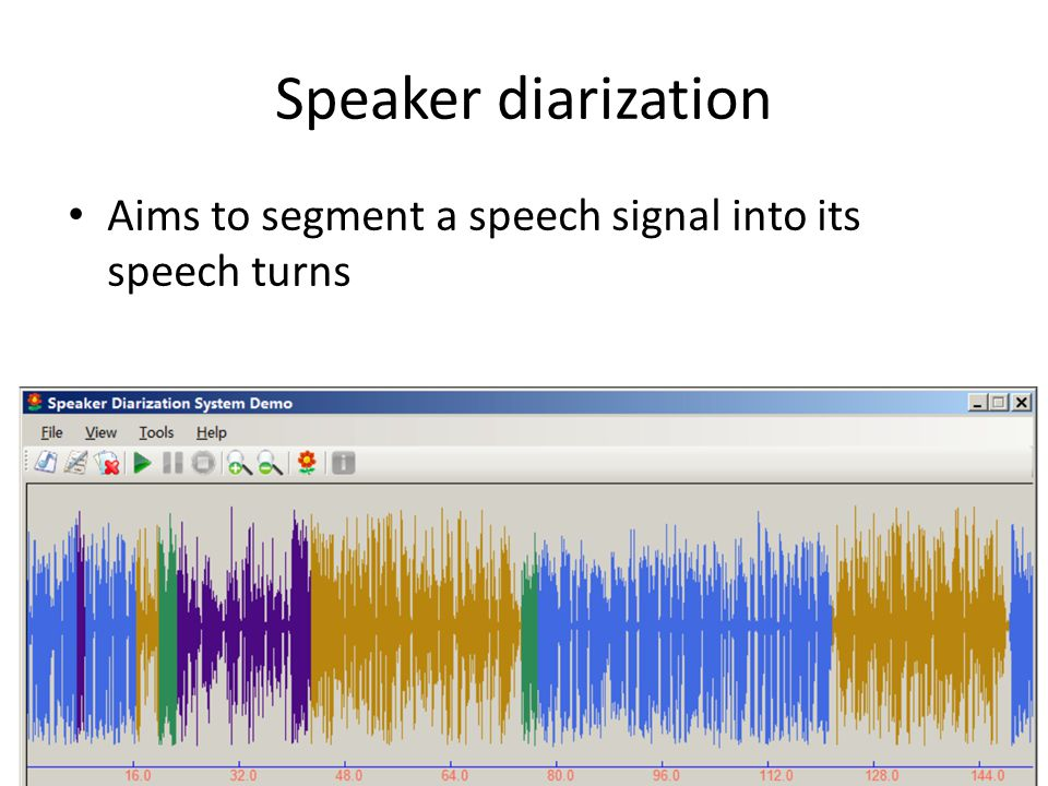 Speaker diarization Aims to segment a speech signal into its speech turns