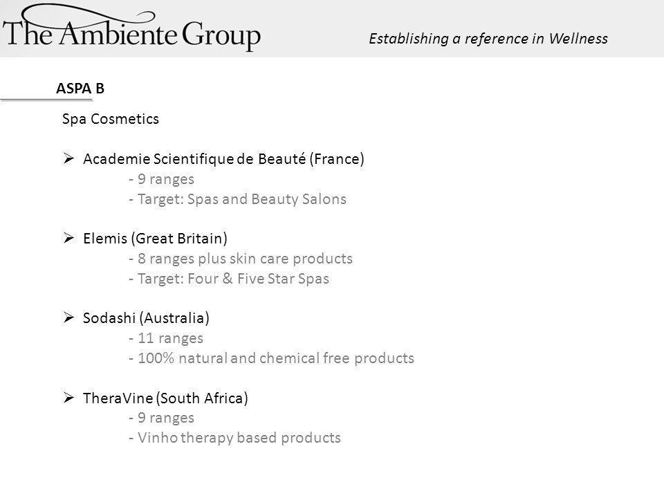 ASPA B Spa Cosmetics Academie Scientifique de Beauté (France) - 9 ranges - Target: Spas and Beauty Salons Elemis (Great Britain) - 8 ranges plus skin