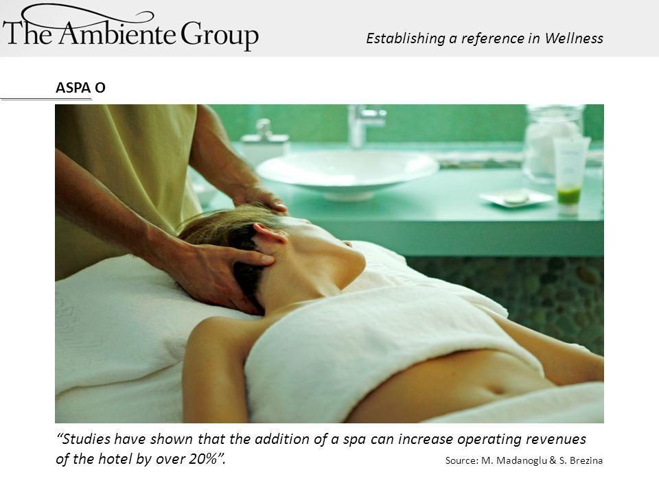 Studies have shown that the addition of a spa can increase operating revenues of the hotel by over 20%. Source: M. Madanoglu & S. Brezina ASPA O Estab