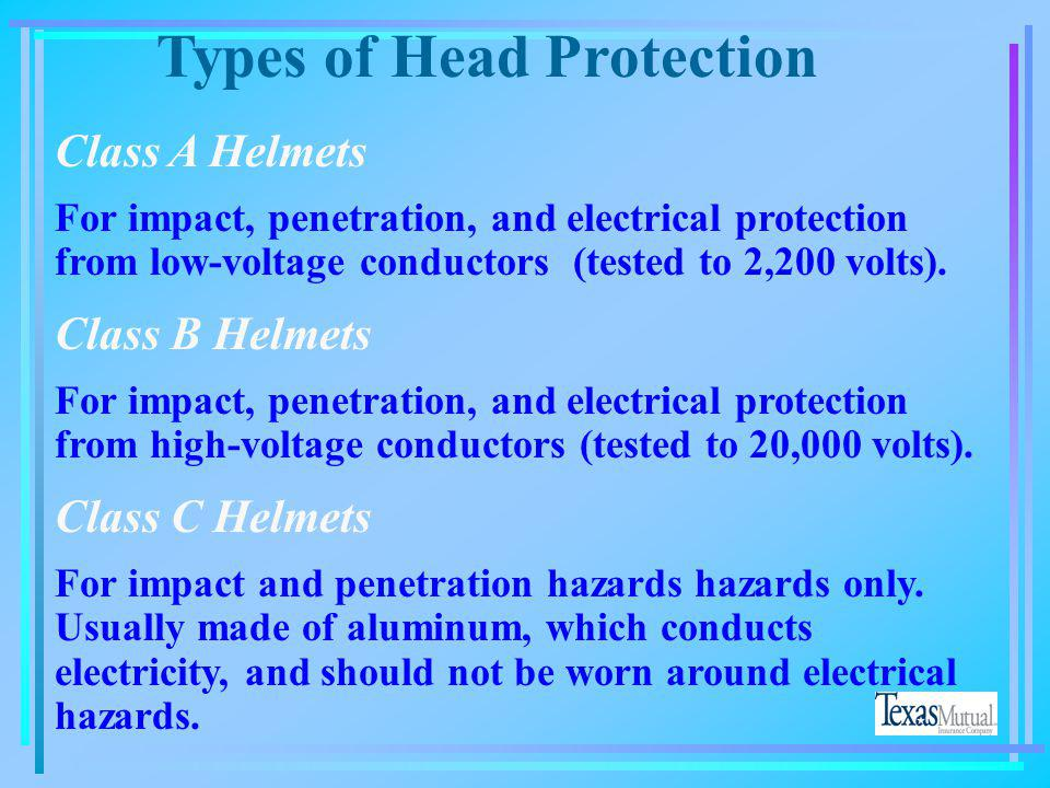 Types of Head Protection Which class of hard hat types will protect you from electric shock as well as falling objects? A.Class A B. Class B C. Class