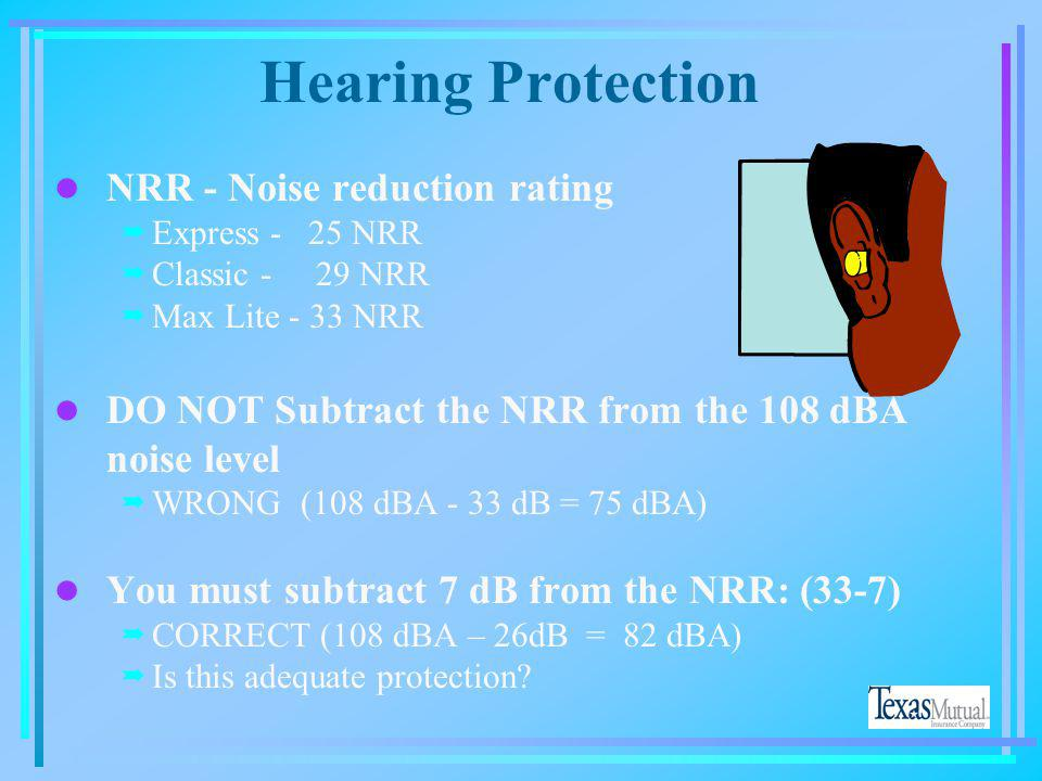 Hearing Loss l Impact - One loud bang l Cumulative - Years of a noisy environment l Tinnitus - Ringing in the ears l Presbycusis - Hearing loss due to