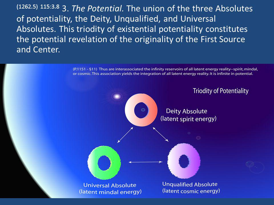 (1262.5) 115:3.8 3. The Potential. The union of the three Absolutes of potentiality, the Deity, Unqualified, and Universal Absolutes. This triodity of