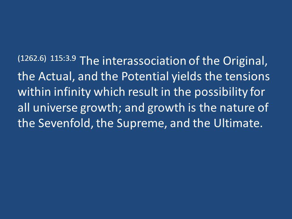 (1262.6) 115:3.9 The interassociation of the Original, the Actual, and the Potential yields the tensions within infinity which result in the possibili