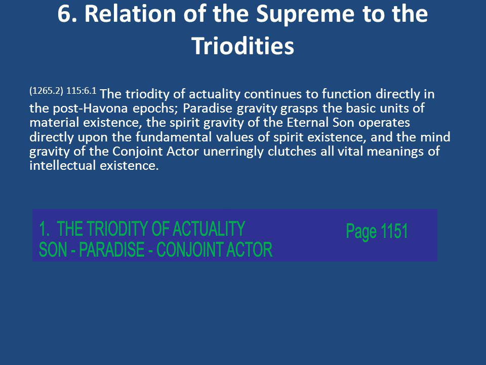 6. Relation of the Supreme to the Triodities (1265.2) 115:6.1 The triodity of actuality continues to function directly in the post-Havona epochs; Para