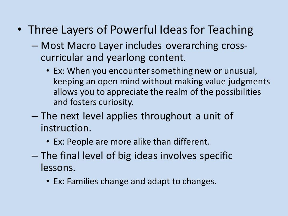 Three Layers of Powerful Ideas for Teaching – Most Macro Layer includes overarching cross- curricular and yearlong content.
