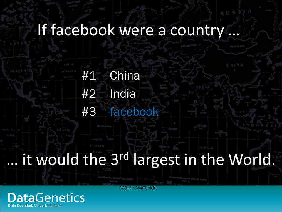 ©2010 – DataGenetics If facebook were a country … #1China #2India #3facebook … it would the 3 rd largest in the World.