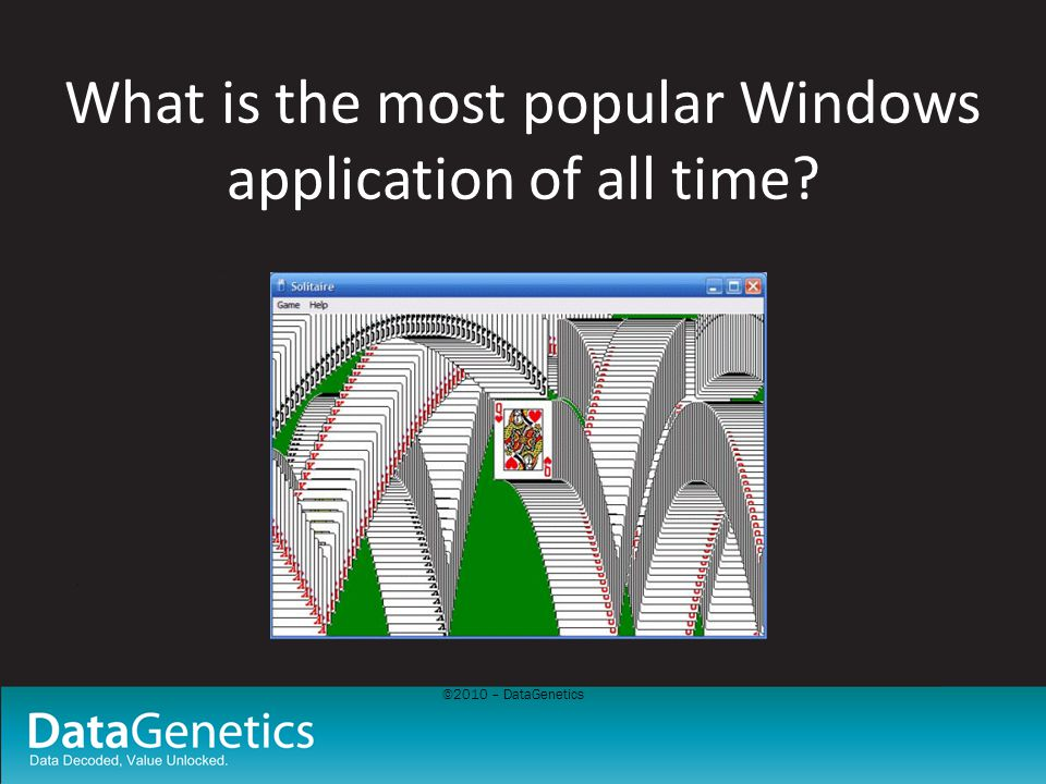 ©2010 – DataGenetics What is the most popular Windows application of all time?