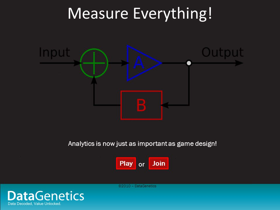 ©2010 – DataGenetics Measure Everything! Analytics is now just as important as game design! PlayJoin or