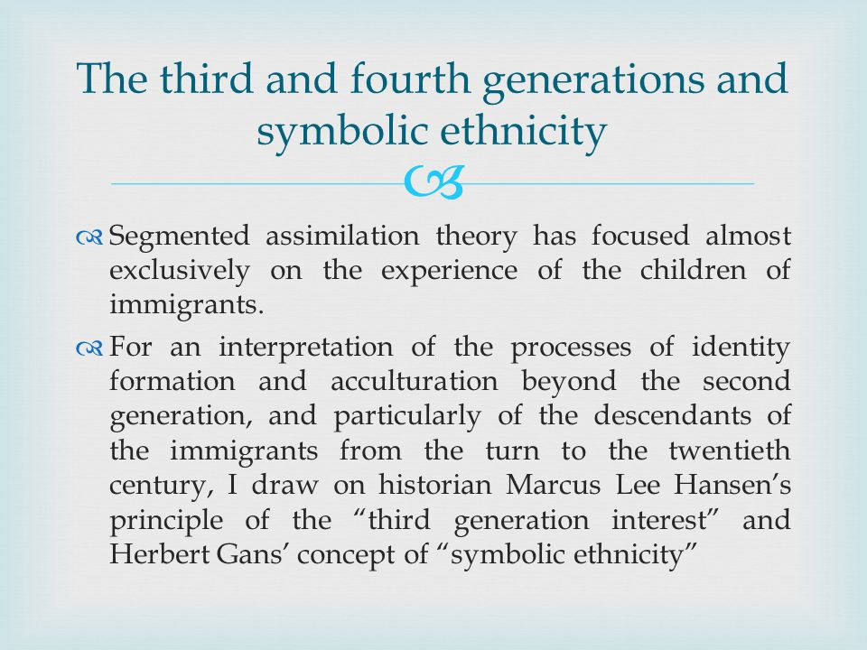 Segmented assimilation theory has focused almost exclusively on the experience of the children of immigrants.