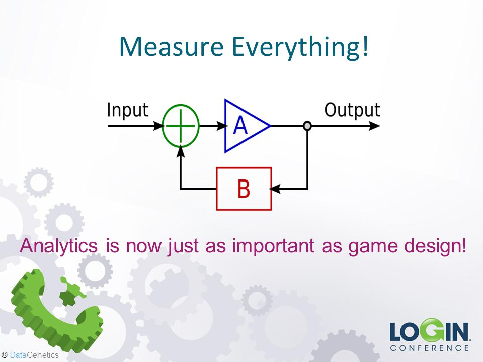 © DataGenetics Measure Everything! Analytics is now just as important as game design!