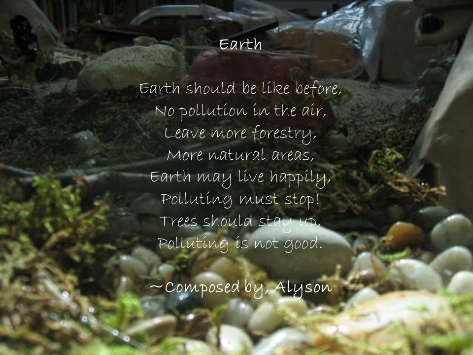 Earth Earth should be like before, No pollution in the air, Leave more forestry, More natural areas, Earth may live happily, Polluting must stop! Tree
