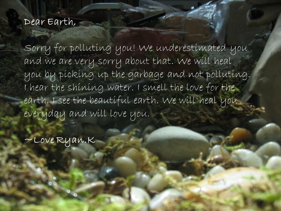 Dear Earth, Sorry for polluting you! We underestimated you and we are very sorry about that. We will heal you by picking up the garbage and not pollut