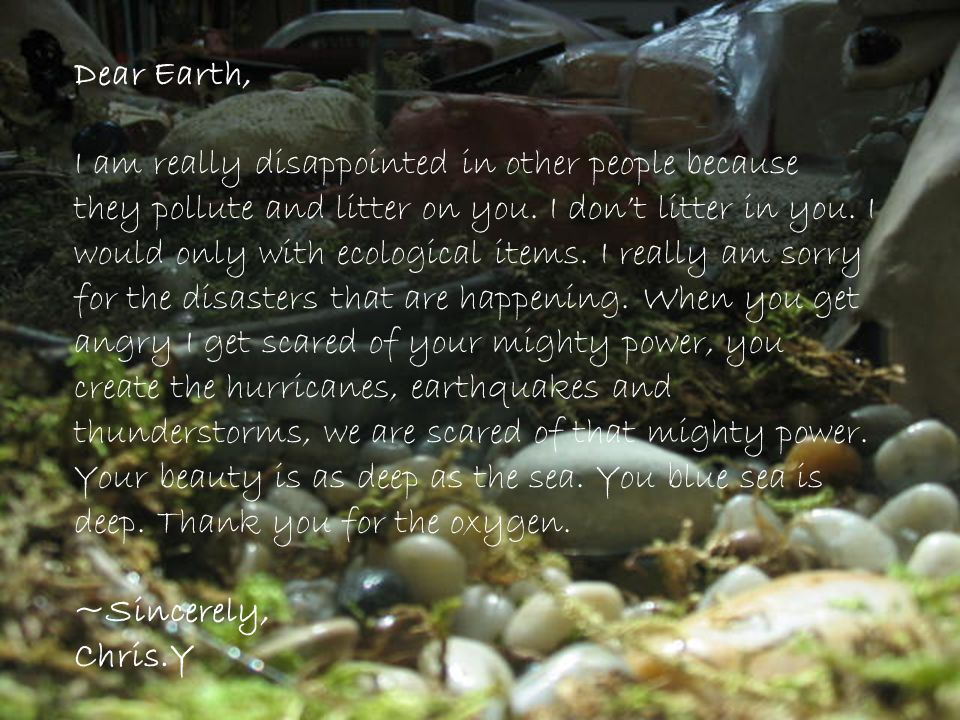 Dear Earth, I am really disappointed in other people because they pollute and litter on you. I dont litter in you. I would only with ecological items.