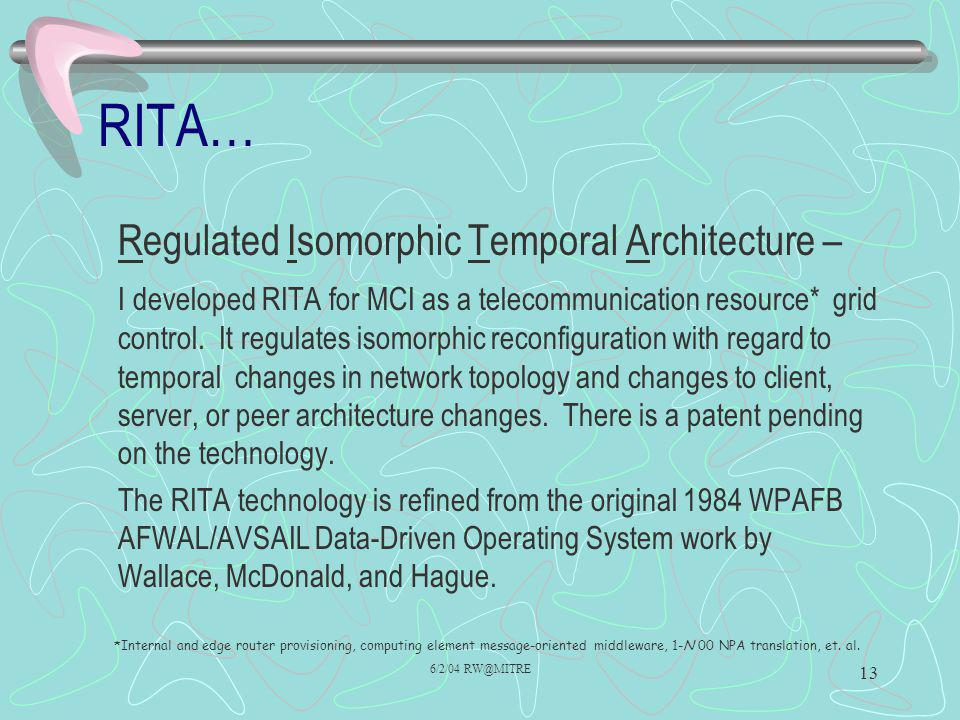 6/2/04 RW@MITRE 13 RITA… Regulated Isomorphic Temporal Architecture – I developed RITA for MCI as a telecommunication resource* grid control. It regul