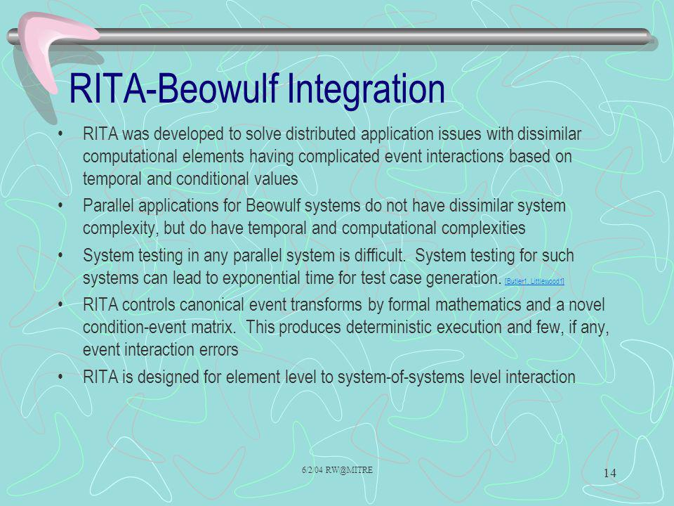 6/2/04 RW@MITRE 14 RITA-Beowulf Integration RITA was developed to solve distributed application issues with dissimilar computational elements having c