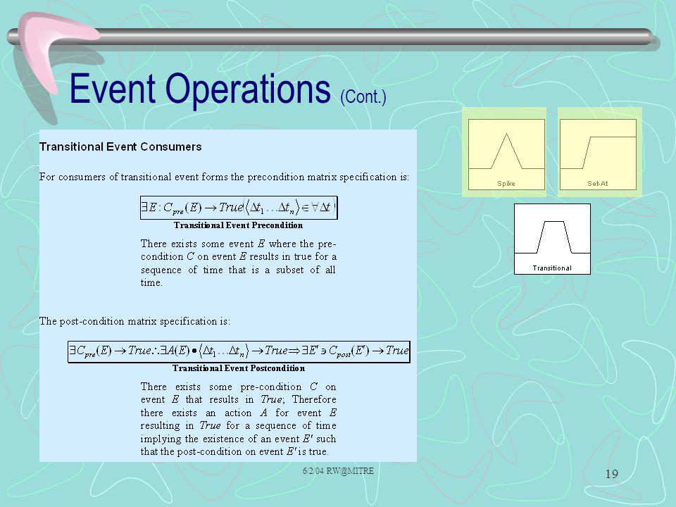 6/2/04 RW@MITRE 19 Event Operations (Cont.)