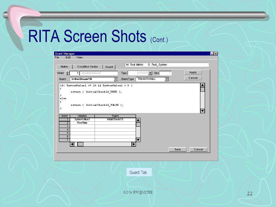 6/2/04 RW@MITRE 22 RITA Screen Shots (Cont.) Guard Tab