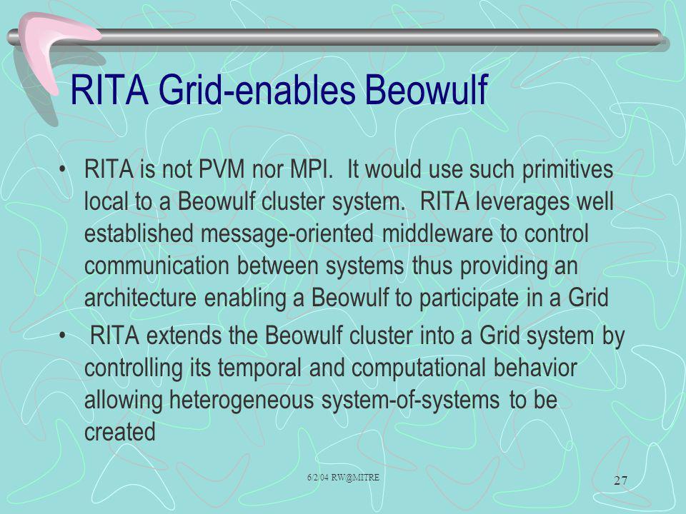 6/2/04 RW@MITRE 27 RITA is not PVM nor MPI.