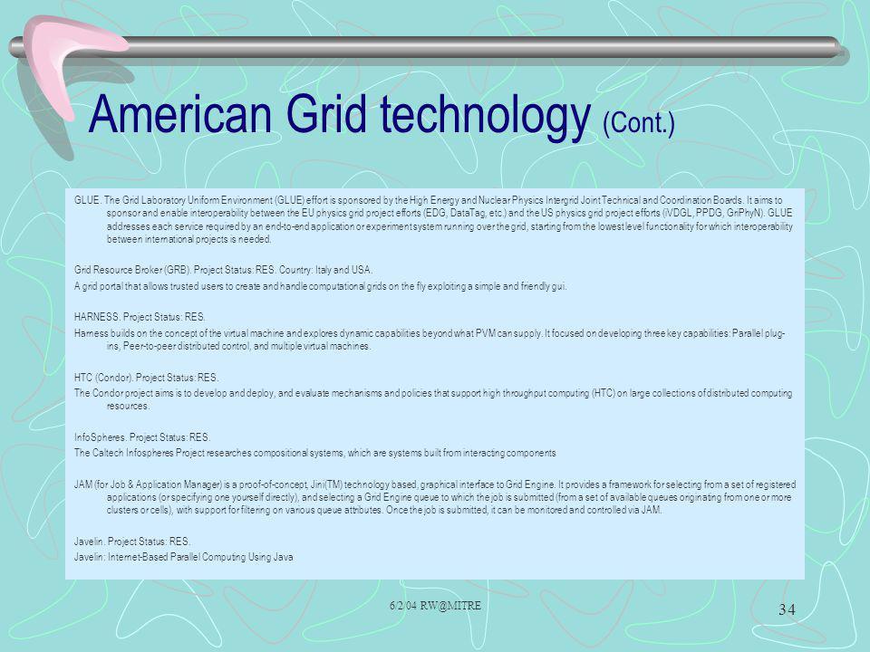 6/2/04 RW@MITRE 34 American Grid technology (Cont.) GLUE.